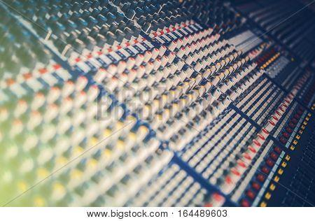 Professional Audio Sound Mixer. Mixing Console Closeup. Audio Technologies.