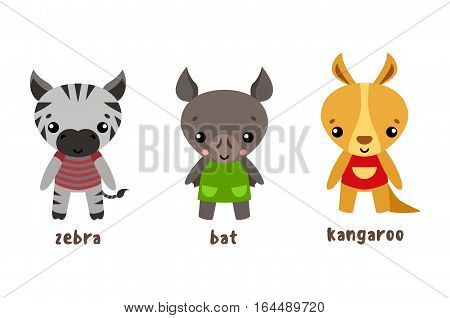 Cartoon bat and african zebra, australian kangaroo. Smiling characters with clothing, funny bird and baby or kid, child animal. Happy and cute zoo mammals or animals with cloth wear, nature theme