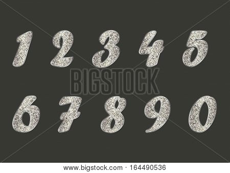 Standard set of light golden numbers with glitter effect. Vector collection of silver, platinum, gold, other metals. Can be used as design element, separate project etc. Isolated on dark. Horizontal.