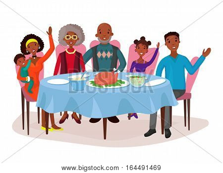 Dinner with afro american happy family. Table with chicken or turkey, salad and plates. Father and mother, children or kids, relatives grandmother and grandfather. Childhood celebration, holiday theme