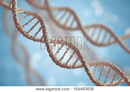 Genetics And Microbiology Concept. Dna Molecules On Blue Backgro