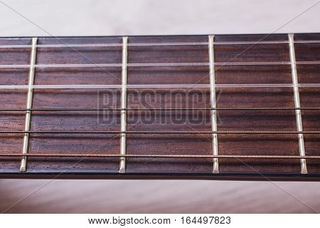Guitar strings closeup, stringed musical instrument close-up