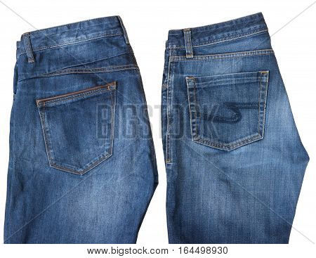 Fashionable men's jeans wear isolated on white background. Classic denim clothing.