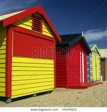 Colourful  Bathing Boxes at Brighton Beach