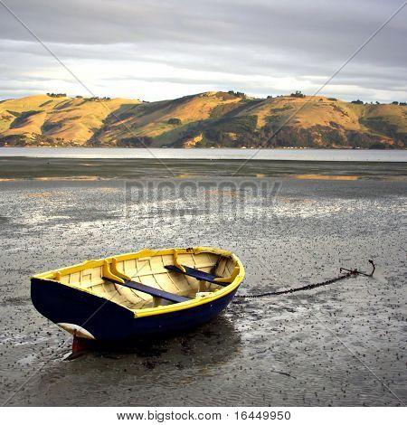 Rowboat at low tide - Otago Peninsula