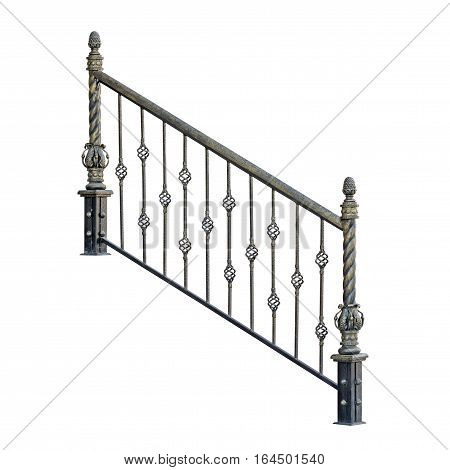 Modern decorative fence railing. Isolated over white background.
