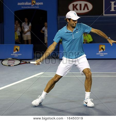 MELBOURNE, AUSTRALIA - JANUARY 17: Swiss tennis player Roger Federer during a charity tennis exhibition he organised for the victims of the Haiti earthquake, Melbourne Australia on January 17, 2010.