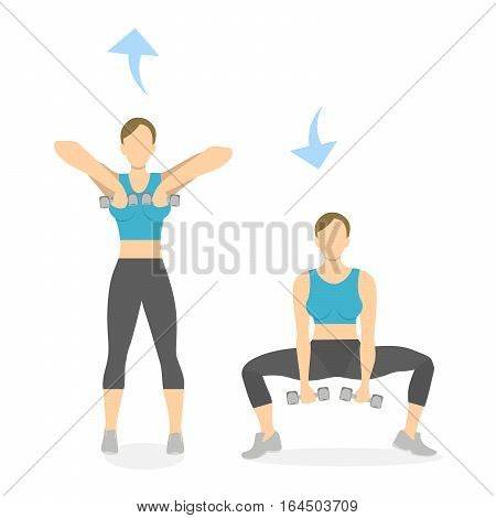 Squats exercise with weights for legs on white background. Healthy lifestyle. Workout for legs. Exercises for women.