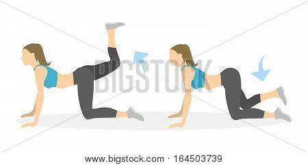 Donkey kicks exercise for legs on white background. Healthy lifestyle. Workout for legs. Exercises for women.