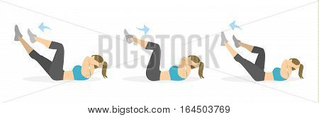 Abs exercise for women on white background. Crossfit and fitness. Crunches.