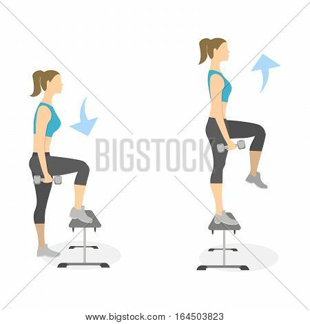 Stepup exercise for legs on white background. Healthy lifestyle. Workout for legs. Exercises for women.