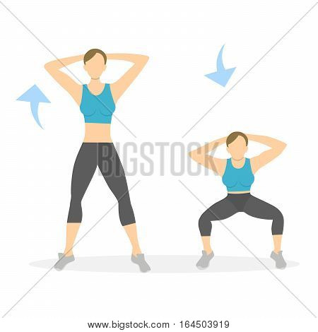 Squats exercise for legs on white background. Healthy lifestyle. Workout for legs. Exercises for women.