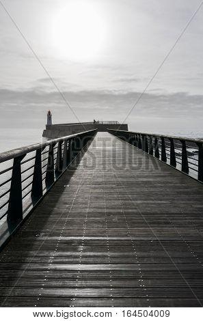 Footbridge of the jetty of la Chaume district of Les Sables d'Olonne, France