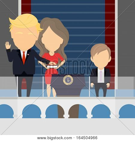 Russia, January, 09. 2017. Inauguration of Trump standing on the tribune with wife and son. Donald, Melania and Barron Trump.