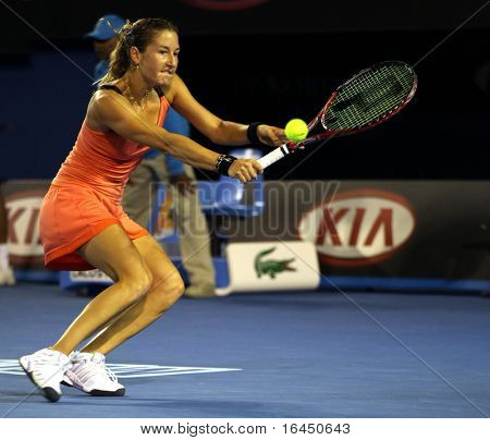 MELBOURNE, AUSTRALIA - JANUARY 23: Shahar Peer Israel during her third round match against Caroline Wozniacki of Denmark in the Australian Open on January 23, 2010 in Melbourne, Australia