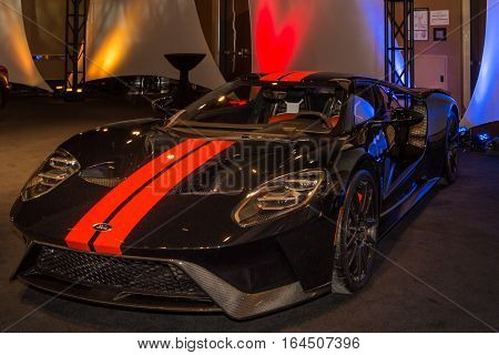 DETROIT MI/USA - JANUARY 8 2017: A Ford GT car at The Gallery, an event sponsored by the North American International Auto Show (NAIAS) and the MGM Grand Detroit.