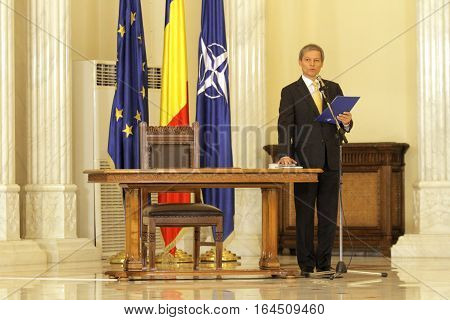 Romania's prime minister Dacian Ciolos speaks during a swearing in ceremony at Cotroceni Palace the Romanian Presidency headquarters in Bucharest on 17 November 2015.