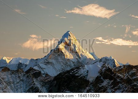 Evening panoramic view of mount Ama Dablam with beautiful sky on the way to Everest base camp Khumbu valley Sagarmatha national park Everest area Nepal