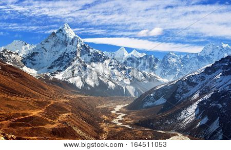 Panoramic beautiful view of mount Ama Dablam with beautiful sky on the way to mount Everest base camp Khumbu valley Sagarmatha national park Everest area Nepal