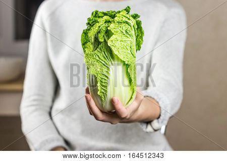 Chinese leaf in female hand. Young person holds pak choi cabbage in hand in home kitchen