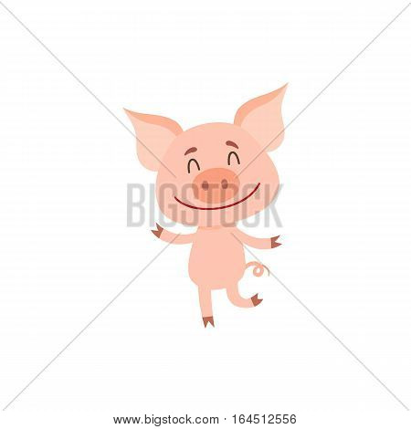 Funny little pig dancing on two rear legs with eyes closed, cartoon vector illustration isolated on white background. Cute little pig dancing and smiling happily, decoration element