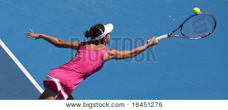 MELBOURNE, AUSTRALIA - JANUARY 26: Yan Zi of China in her doubles match with Bethanie Mattek Sands against Venus & Serena Williams during the Australian Open on January 26, 2010 in Melbourne