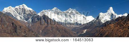 Panoramic view of Mount Everest Lhotse and Ama Dablam from Kongde - Sagarmatha national park - Nepal