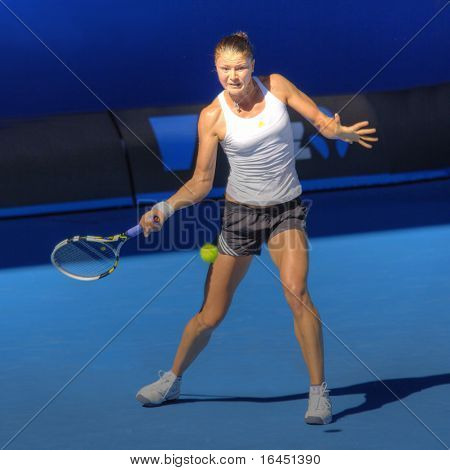 MELBOURNE, AUSTRALIA - JANUARY 16: Dinara Safina of Russia at a practice session ahead of the 2010 Australian Open at Melbourne Park on January 16, 2010 in Melbourne, Australia