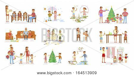 Set of big Family portrait. Parents and grandparents with son, daughter and baby.  Child plays outside. Mom and dad with kids have a dine. And others. Vector flat illustration.