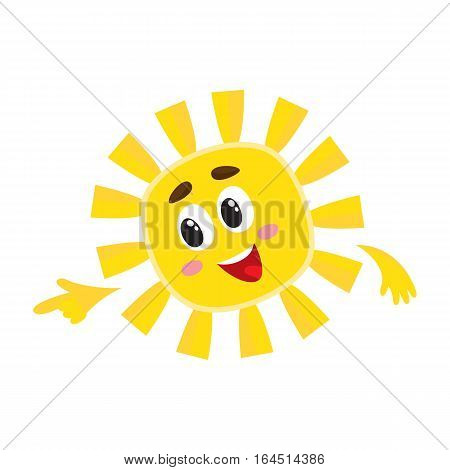 Smiling sun pointing to something with its finger, cartoon vector illustration isolated on white background. Cheerful sun character, symbol of summer season, hot weather and vacation at the sea