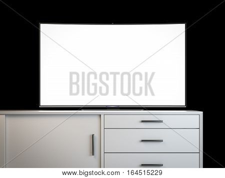 Modern tv with blank screen on a white bureau. 3d rendering
