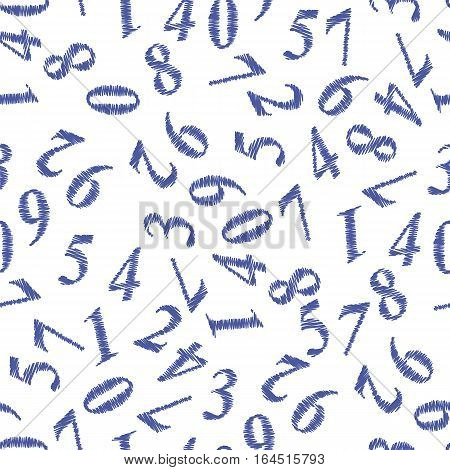 Blue Grunge Numbers Seamless Pattern on White Background
