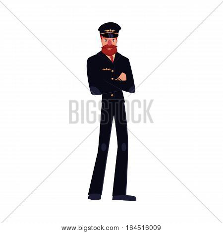 Full length portrait of serious civil airline pilot with beard and whiskers wearing black uniform, cartoon vector illustration isolated on white background. Hipster pilot wearing black uniform