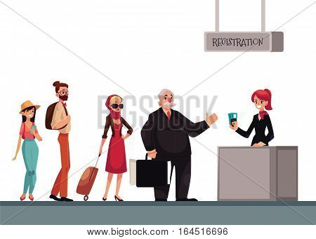 Line to airport check-in, passenger and baggage registration desk, cartoon vector illustration isolated on white background. People waiting for check in, luggage drop, baggage registration in airport