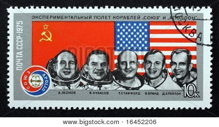RUSSIA - 1975: A postage stamp from the USSR depicting the astronauts from the