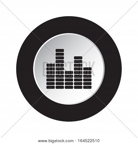 isolated round black and white button with black mixing console equalizer symbol icon