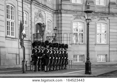Copenhagen, Denmark - November 11, 2016: Group of Danish Royal Guard during changing of guard ceremony at Amalienborg Palace