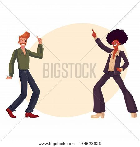 Two guys, in afro wig and with a beehive, wearing 1970s style clothes dancing disco, cartoon vector illustration on background with place for text. Afro wig, beehive, flared pants, retro disco party