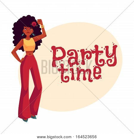 Young woman with long afro curly hair in 1960s style trousers dancing disco, cartoon style invitation, greeting card design. Party invitation, advertisement, Girl, woman in retro style trousers