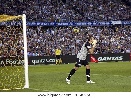 MELBOURNE, - MARCH 20: Sydney FC goalkeeper Ivan Necevski in the A-League grand final win over Melbourne Victory on March 20, 2010 in Melbourne