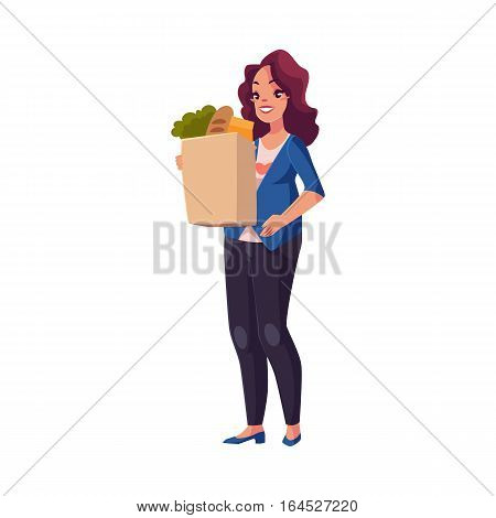 Half turned young pregnant woman holding shopping bag full of grocery products, cartoon vector illustration isolated on white background. Pregnant woman with shopping bag buying food at grocery store