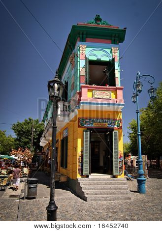 BUENOS AIRES - FEB 14:Landmark corner of Caminito Street in La Boca. The street is a major tourist attraction & the area is filled with colorfully painted buildings - February14, 2009 in Buenos Aires.