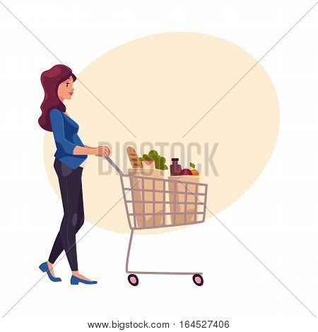 Young pregnant woman pushing shopping cart with grocery products, cartoon vector on background with place for text. Beautiful pregnant woman buying food with shopping cart in grocery store