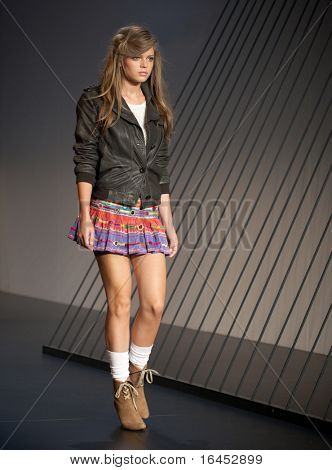 MELBOURNE, AUSTRALIA - MARCH 18: A model showcases designs by Arabella Ramsay in the 2010 L'Oreal Melbourne Fashion Festival at Central Pier, Docklands on March 18, 2010 in Melbourne, Australia