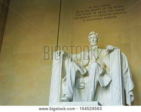Statue of Abraham Lincoln at the Lincoln Memorial Washington DC USA