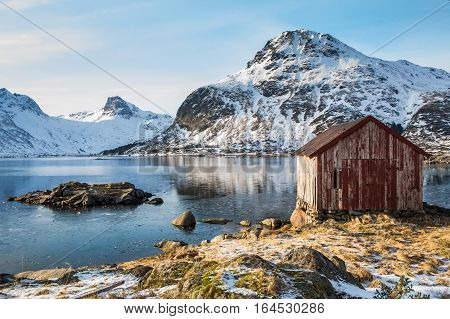 Red Rorbu Fishing Huts on Lofoten, Norway