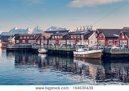 Beautiful rorbu or fisherman's houses in Svolvaer Lofoten Islands in Norway