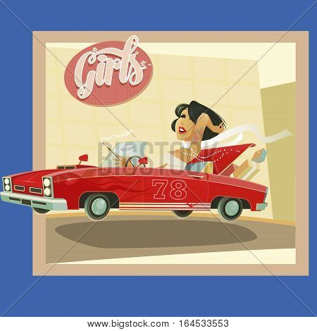 Woman driving a red cabriolet with bon voyage title cartoon
