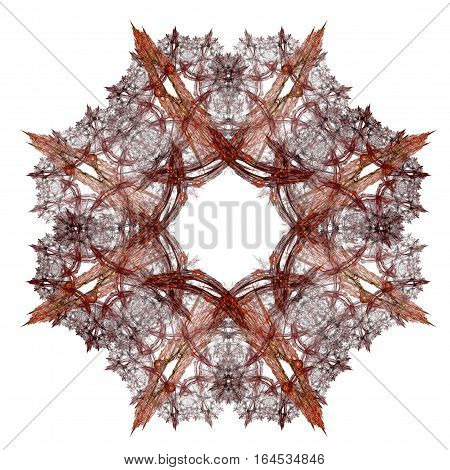 Abstract Fractal With A Burgundy Pattern On A White Background