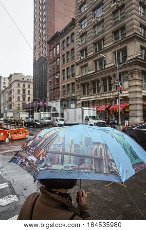 Woman With An Umbrella In The Streets Of Nyc